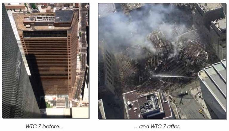 Image of building 7 before and after collapse