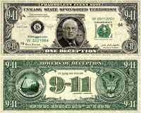 Deception Dollars - works of art that look like US currency with web addresses for info sites
