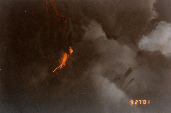 Glowing molten steel photographed at Ground Zero by Frank Silecchia