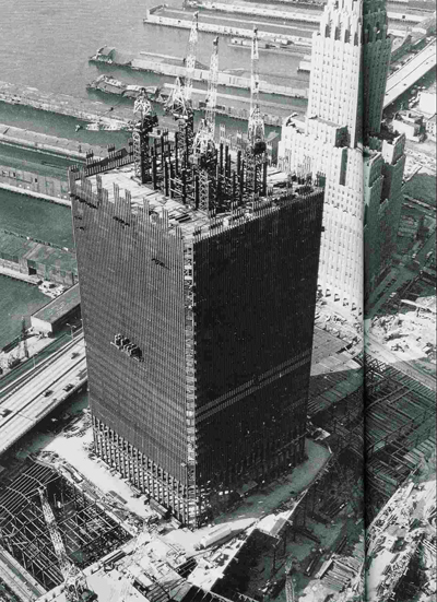 World Trade Center tower construction photo showing large interior columns